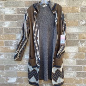 Sun & Shadow Sweaters | Sun Shadow Long Sleeve Tan And Blue